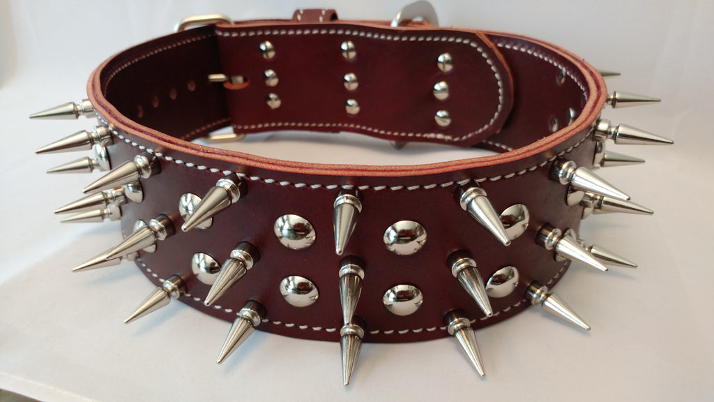 "3 inch Leather Spiked Collar XL 24""-31"""