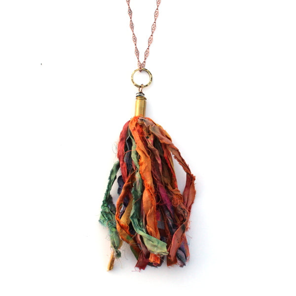 Multi-Color Sari Silk Necklace