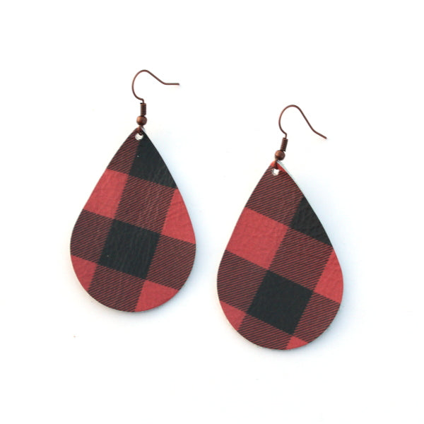Red and Black Plaid Leather Tear Drop Earrings