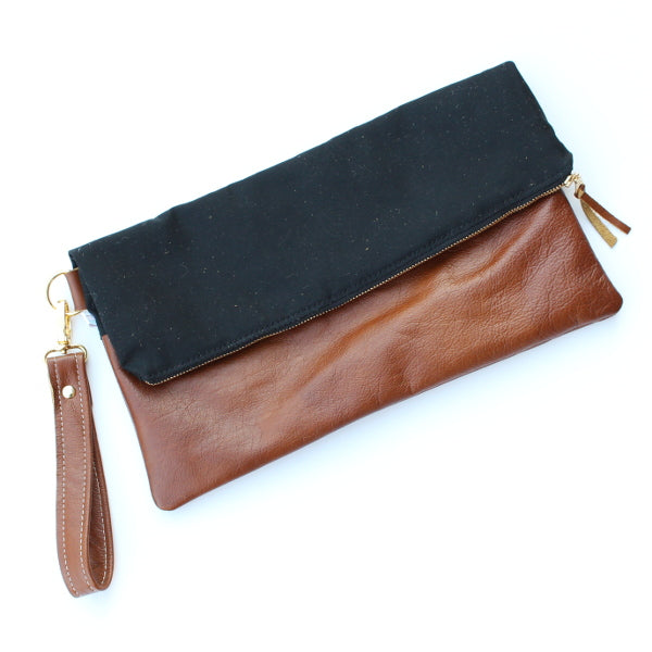 Black and Cognac Leather Large Foldover Clutch With Wrist Strap