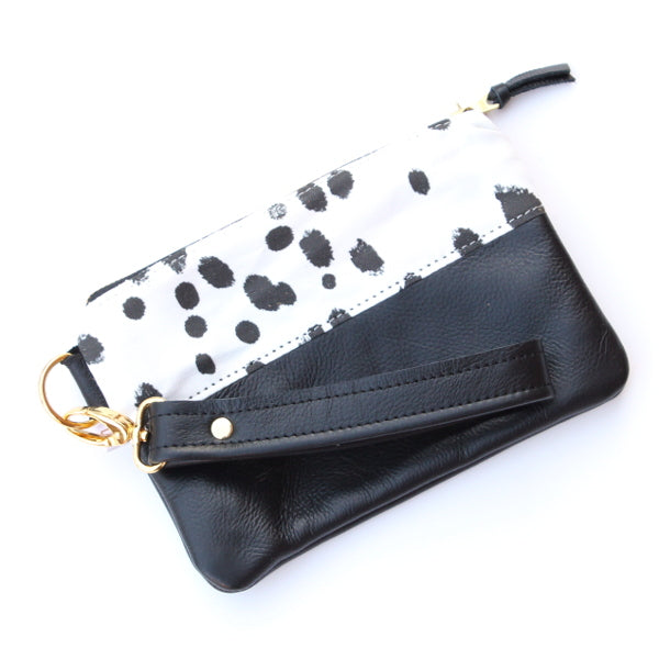 Dalmation Wristlet - Black Leather