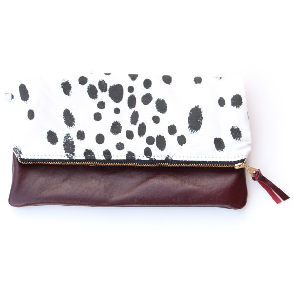 Dalmation Leather Foldover Clutch - Mini Merlot