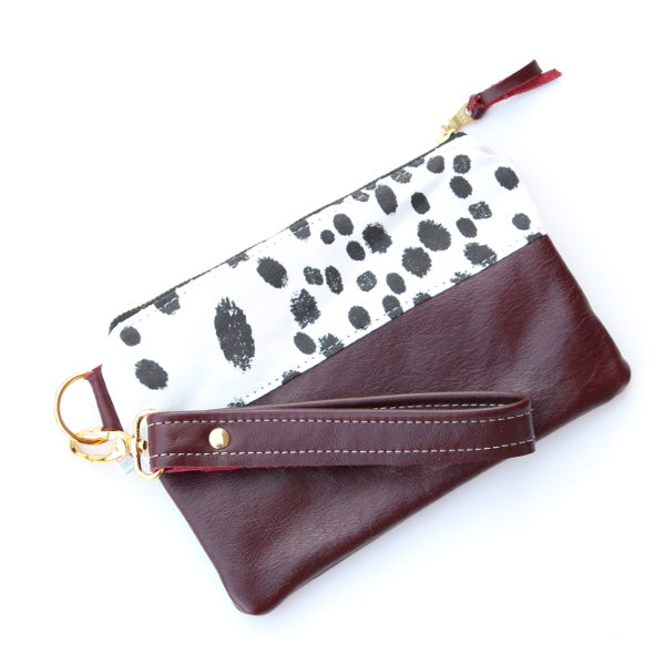 Dalmation Wristlet - Merlot Leather