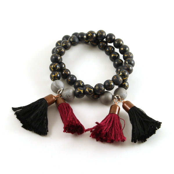 Garnet and Black Tassel Bracelet Set