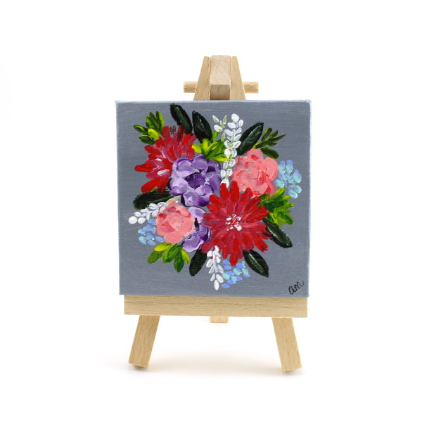 Gray Floral Mini Canvas and Easel
