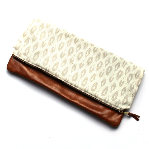 Gray Leopard Large Foldover Clutch - Camel Leather
