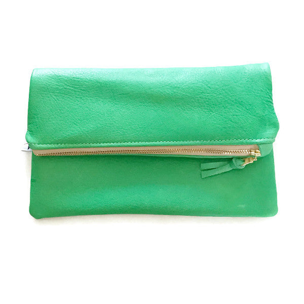 Mini Foldover Clutch - Green Leather