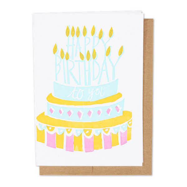 Birthday Cake Letterpress Card