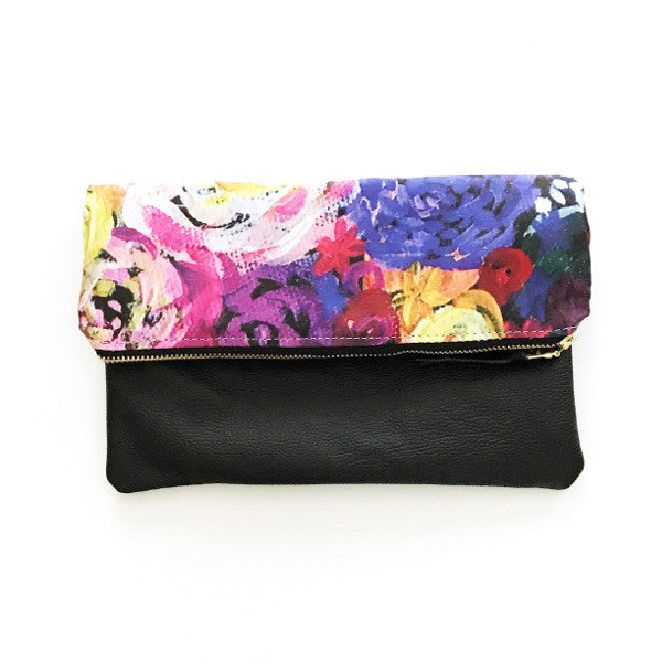 Hot Pink Floral Mini Foldover Clutch - Black Leather