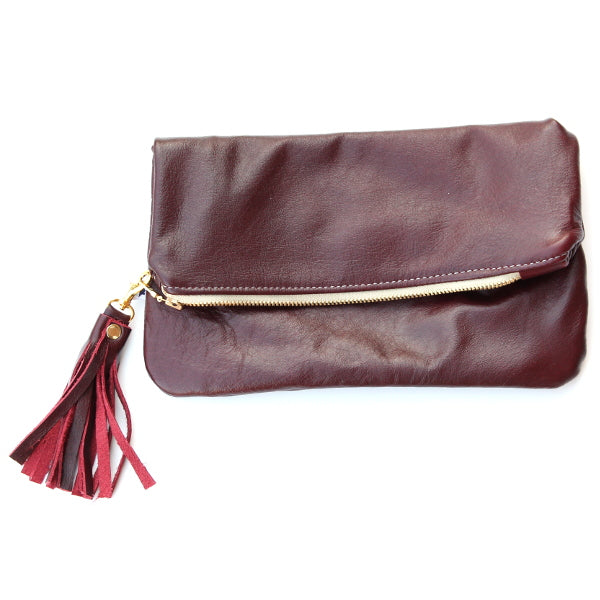Merlot Leather Foldover Clutch - Mini