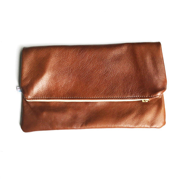 Mini Foldover Clutch - Cognac Leather