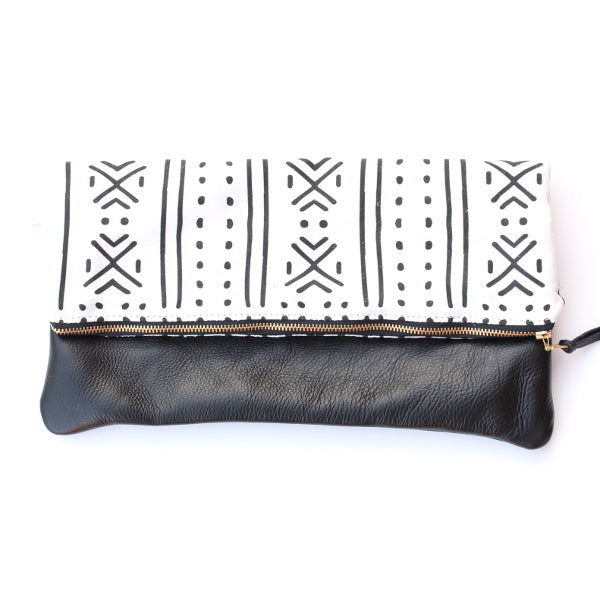 Mudcloth Large Foldover Clutch - Black Leather