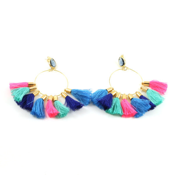 Multi Tassel Earring - Blue