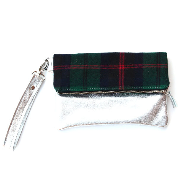 Navy Plaid Leather Foldover Clutch - Mini Silver With Wrist Strap