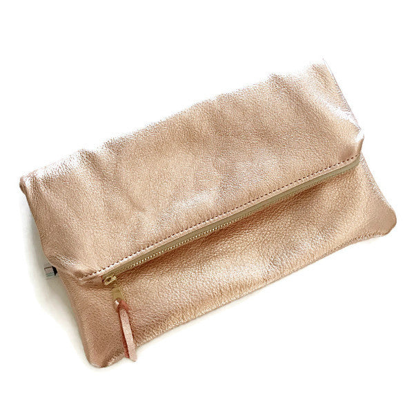 Mini Foldover Clutch - Rose Gold Leather