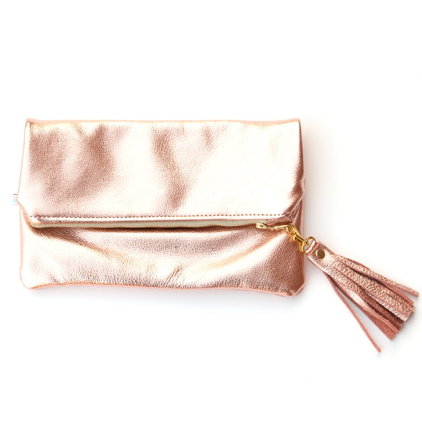 Rose Gold Leather Foldover Clutch - Mini With Tassel