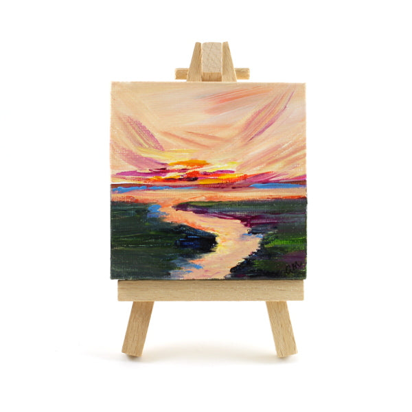 Waterway Sunset Mini Canvas and Easel