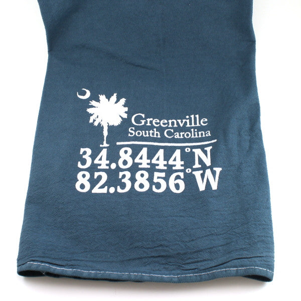 Kitchen Towel - Greenville Latitude/Longitude - Slate
