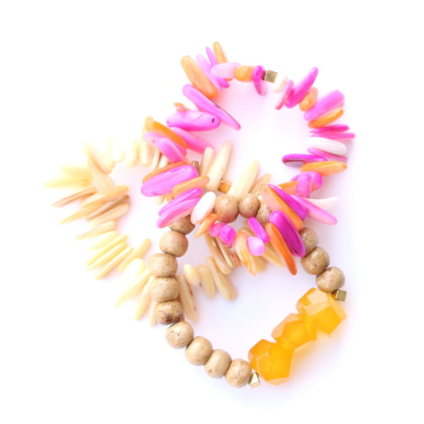 Yellow and Pink Stack Bracelets