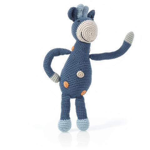 Pebble - Rattle / Organic Blue Giraffe