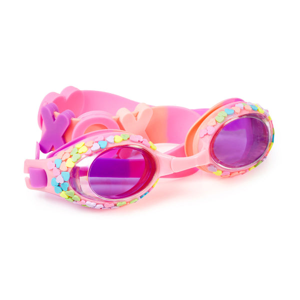 Bling2o - Swimming Goggles / Candy Hearts Kids Swim Goggles - Hugs & Kisses Pink Classic Shape