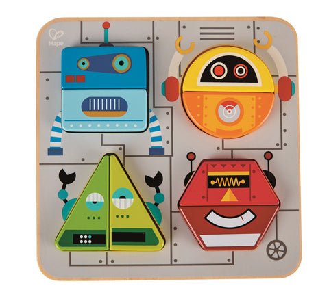 Hape - Wooden Learning Puzzle - Robot Sort & Stand Up