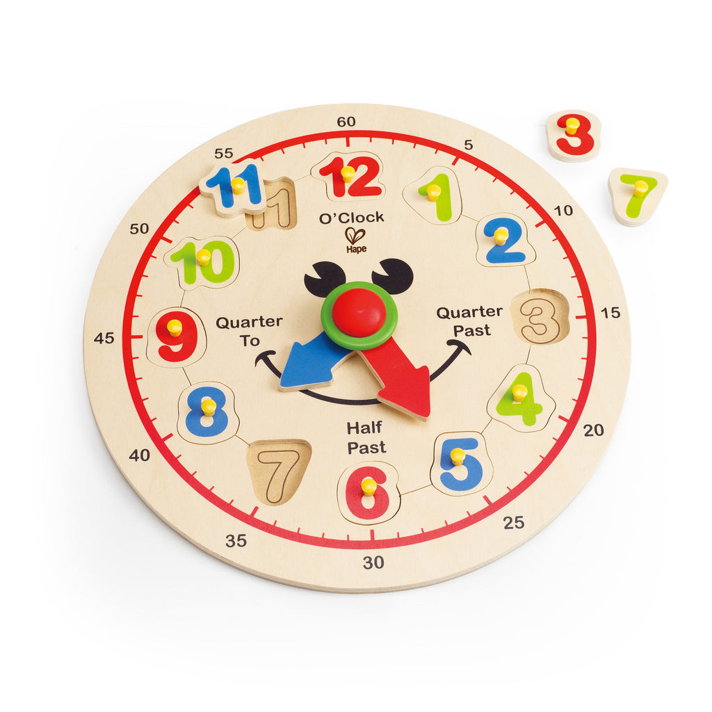 Hape - Wooden Toy - Happy Hour Clock Kid's Time