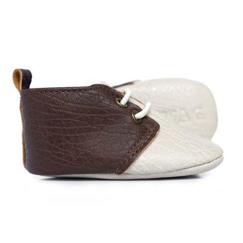Sweet N Swag - Babies Shoes / Moccasins - Harvard / Ivory  Dark Brown Moxfords