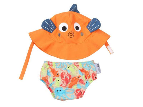 Zoocchini - Baby Accesories / Swimwear - Swim Diaper & Sun Hat Set Fish