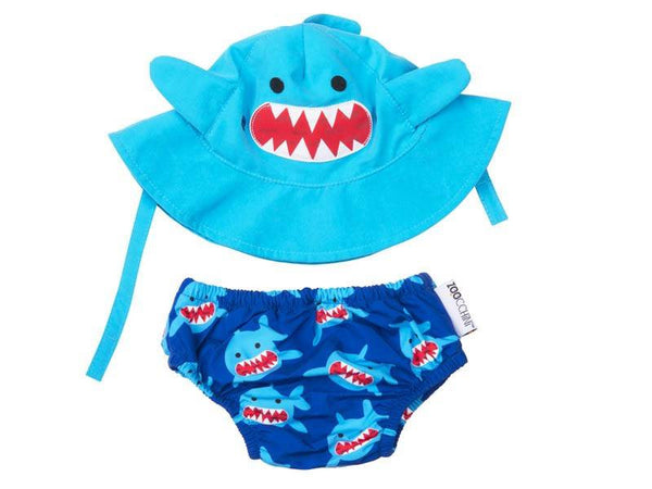 Zoocchini - Baby Accesories / Swimwear - Swim Diaper & Sun Hat Set Shark