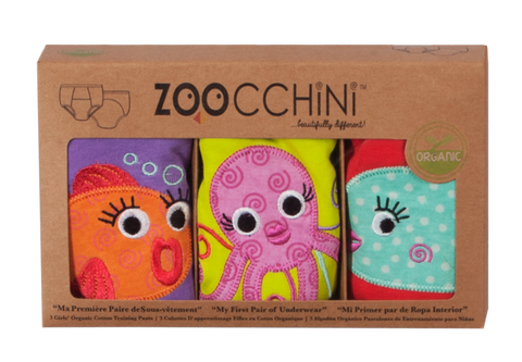 Zoocchini - Girls Accessories / Underwear - Three Piece Panty Set Ocean Friends