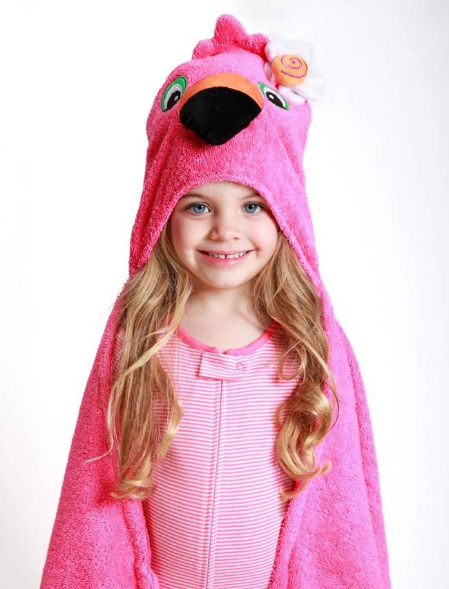 Zoocchini - Girls Accessories / Towel - Franny The Flamingo Hooded Towel