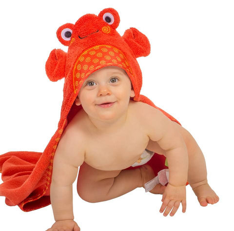 Zoocchini - Kids Accessories / Towel - Charlie The Crab Hooded Towel