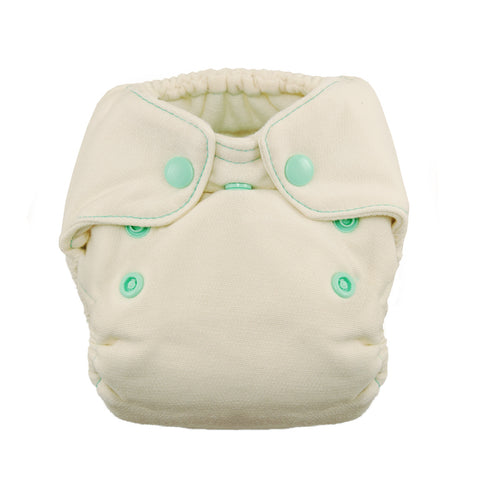Thirsties - Baby's Cloth Diapers - Snap Natural Newborn Fitted / Moss