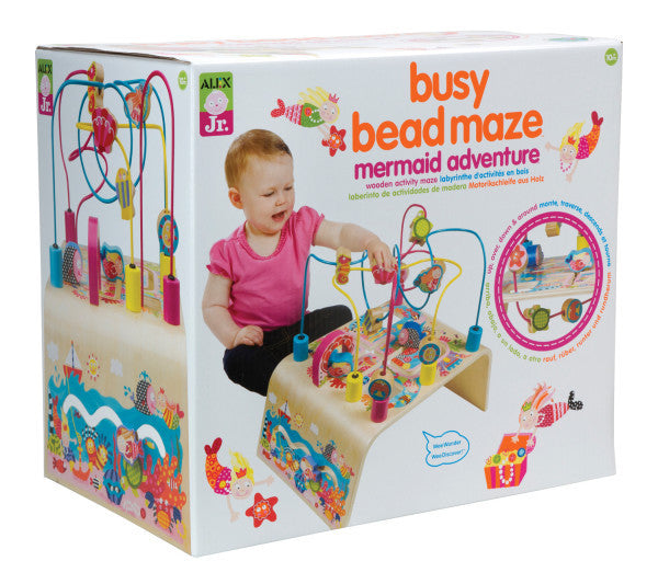 Alex Jr. - Wooden Developmental Toy / Busy Bead Maze Mermaid Wooden Activity Center