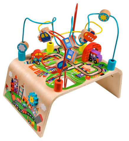 Alex Jr. - Wooden Developmental Toy / Busy Bead Maze Race Around Wooden Activity Center