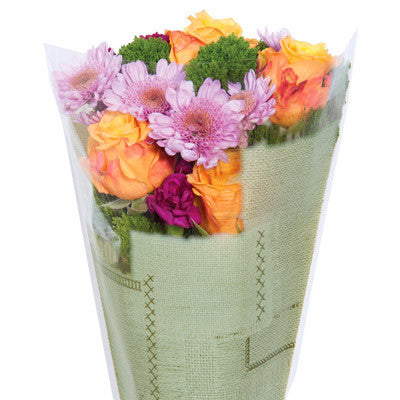 Burlap-Look Bouquet Sleeves (Green Large)