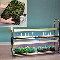 2-Tier/4-Tray Grow Light Plant Stand + Heat Mat Kit