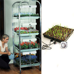 4 Tier Grow Light/Plant Stand Heat Mat Kit (8 Trays)