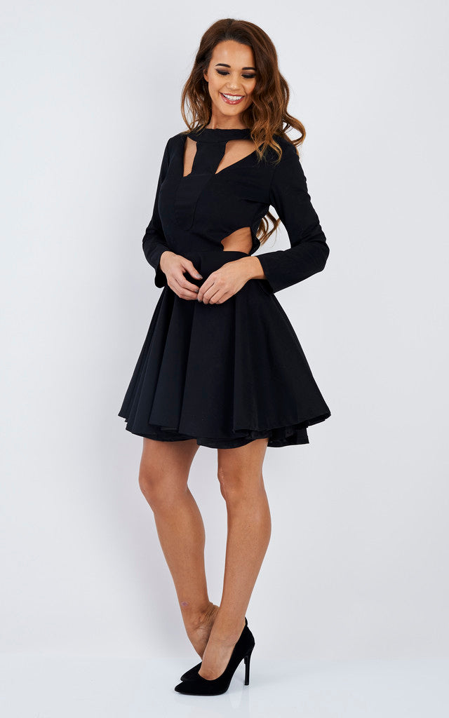 Full Sleeve Cut-Out Black Dress