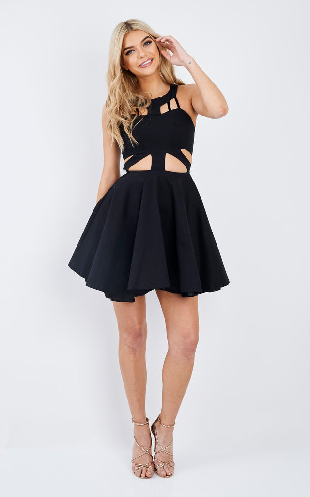 Sleeveless Cut-Out Black Dress