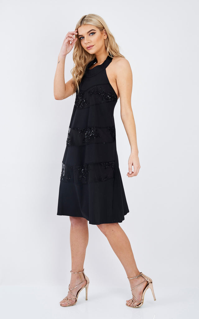 Black Lace Ribbon Tied Dress