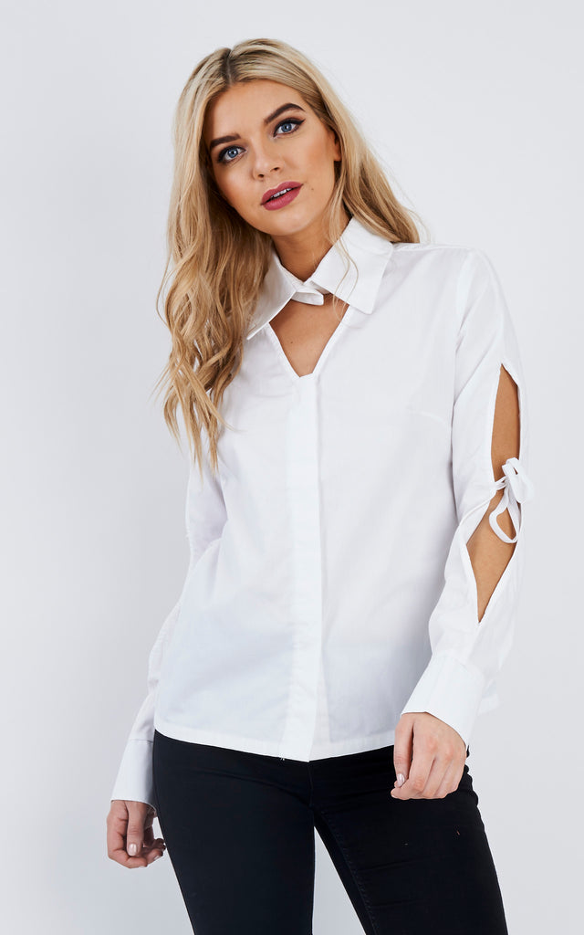 Cut-Out White Ribbon Top