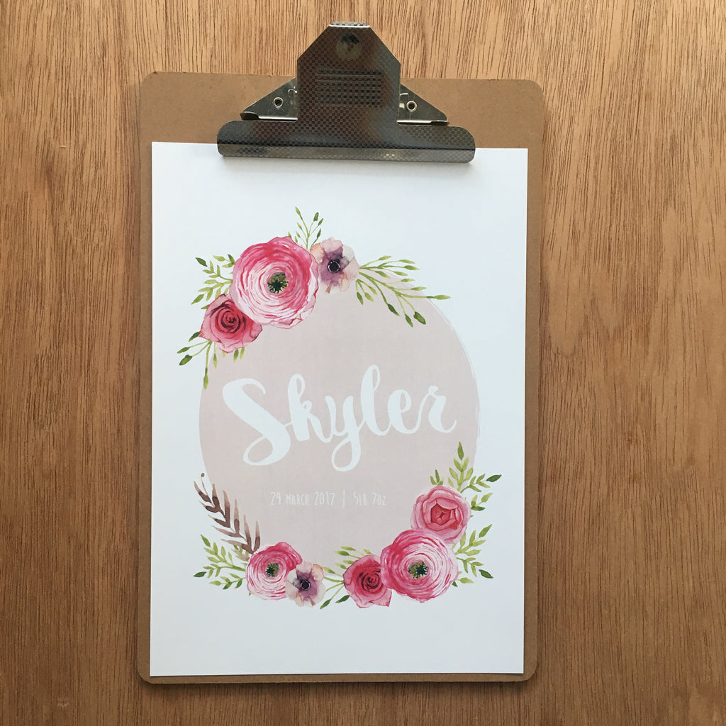 "//CUSTOM GIRLS NAME - ""SKYLER PINK"" SAMPLE//"