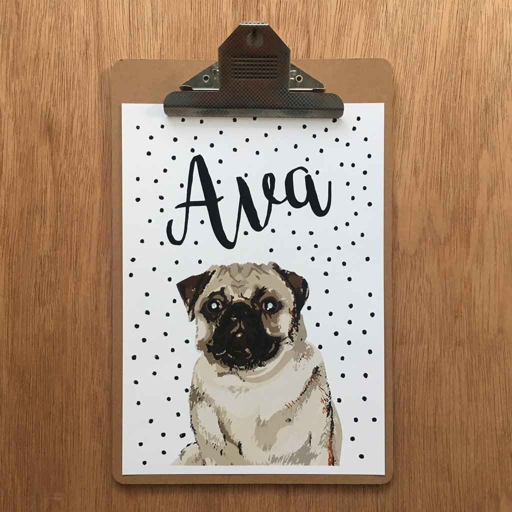 "//CUSTOM GIRLS NAME - ""AVA PUG"" SAMPLE//"