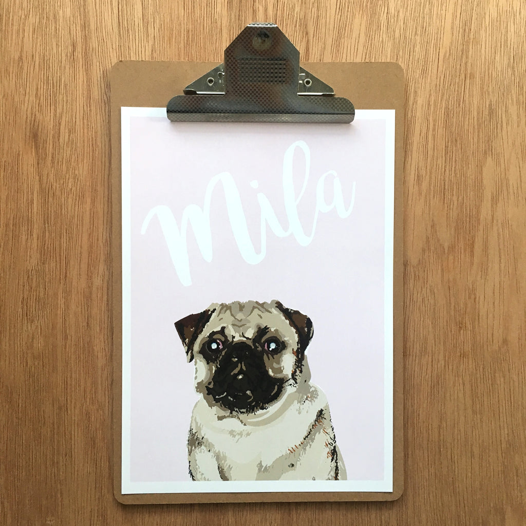"//CUSTOM GIRLS NAME - ""MILA PUG"" SAMPLE//"