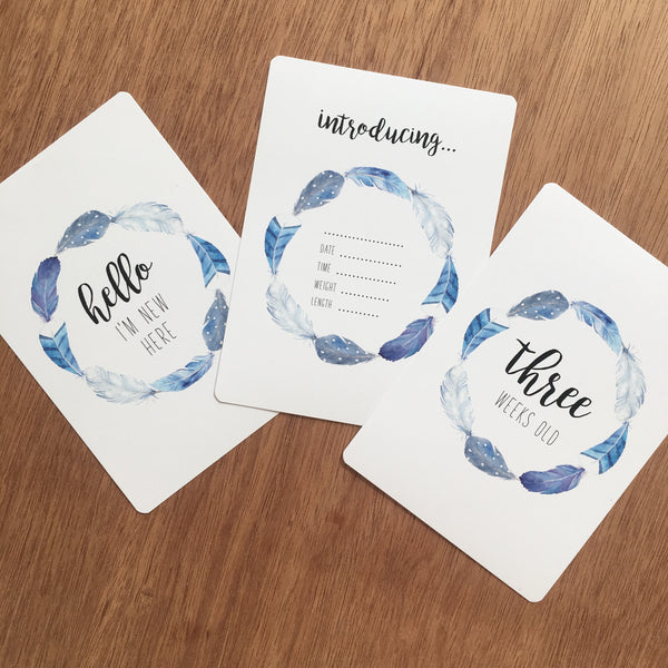 //MILESTONE CARDS - BOHO BLUE//