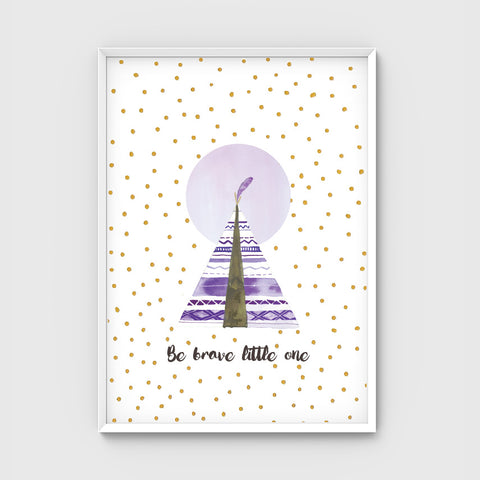 //BE BRAVE TEEPEE-PURPLE+PINK//