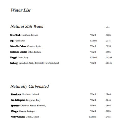 the great room water menu