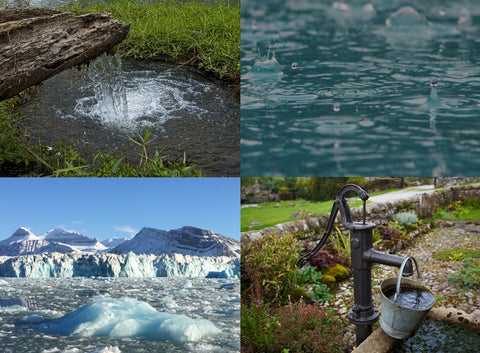 Bottled water sources including spring, rainwater, artesian well, and iceberg
